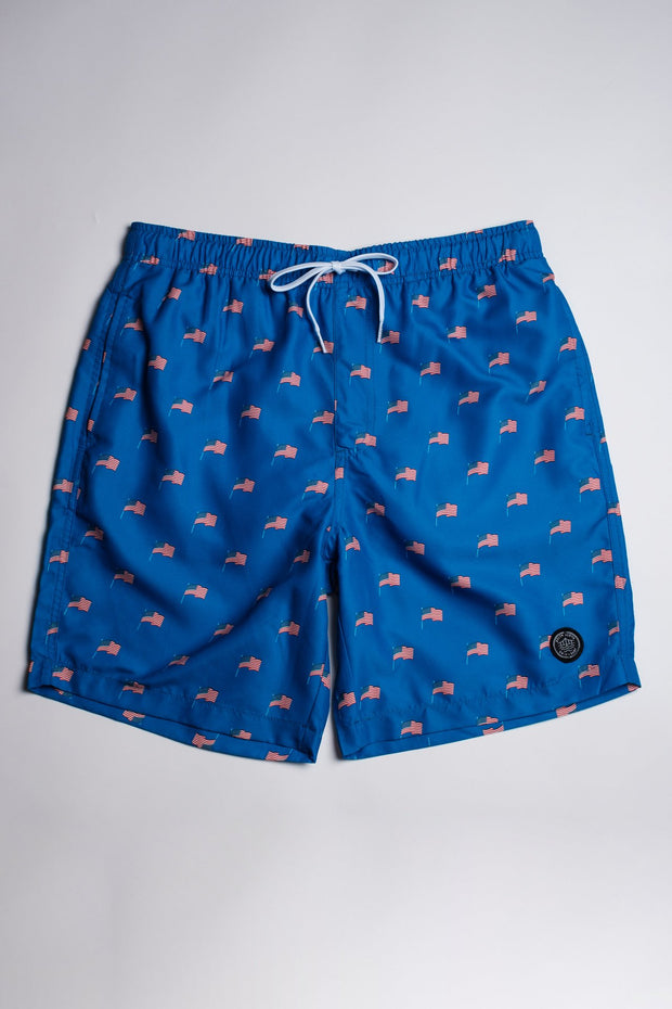 Ditsy Flag Print Swim Trunks