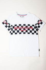 Boys White Retro Brooklyn Block Tee