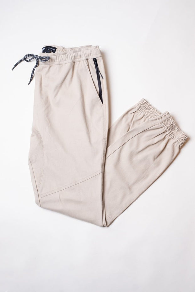 Side Pocket Zipper Khaki Twill Jogger Pants