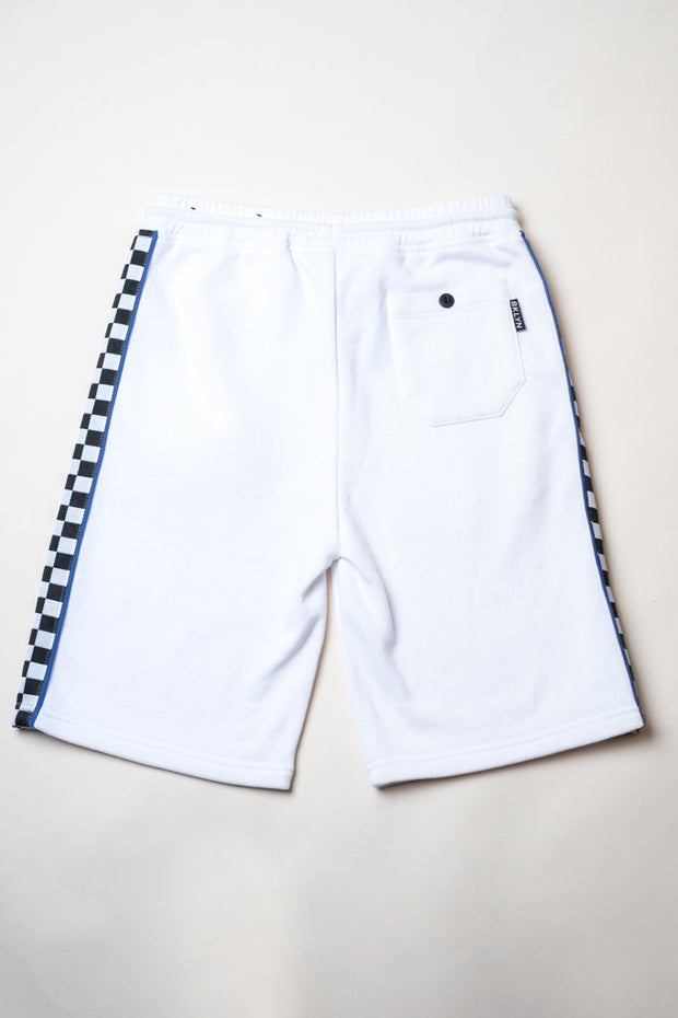 Boys White Checkered Striped Knit Shorts