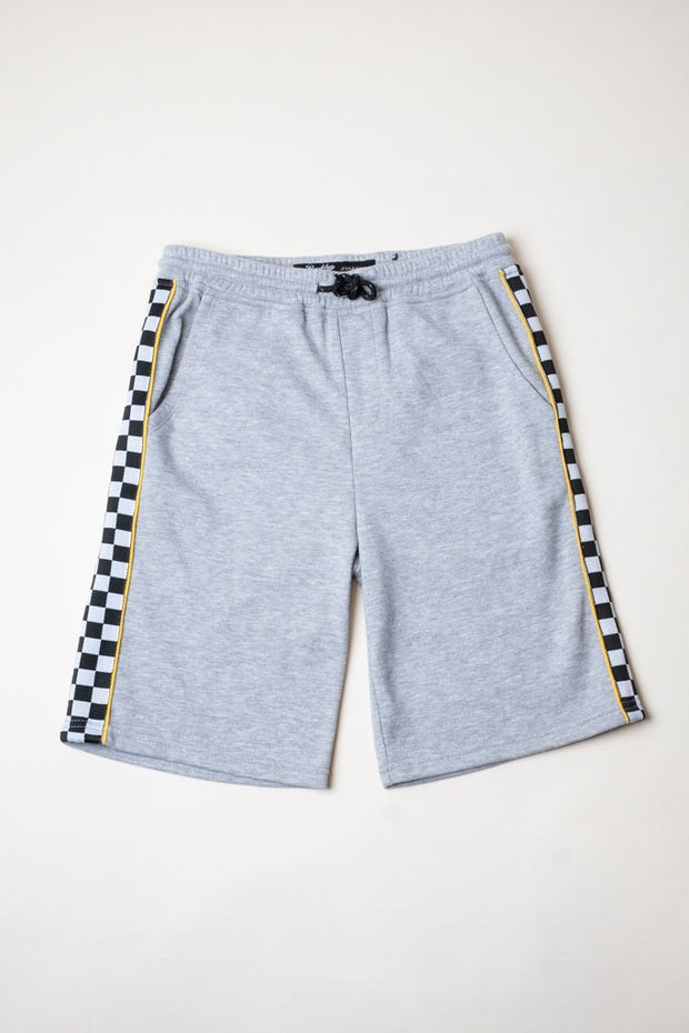 Boys Heather Grey Checkered Striped Knit Shorts