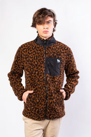 Original Garment Leopard Sherpa Zip Up Jacket