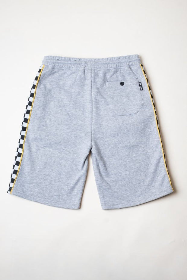 Boys Heather Grey Checkered Striped Knit Shorts from Brooklyn Cloth