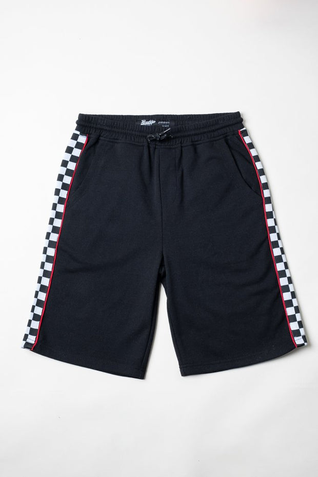 Boys Black Checkered Striped Knit Shorts