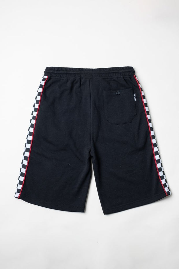 Boys Black Checkered Striped Knit Shorts from Brooklyn Cloth
