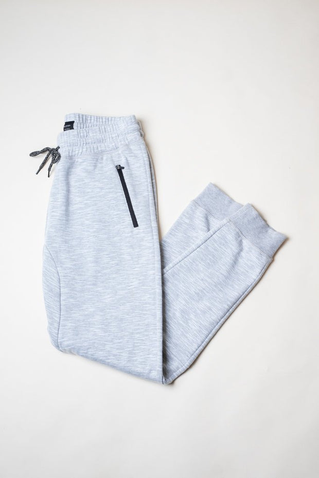 Men's Light Grey Streaky Slub Fleece Jogger Pants