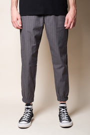 Grey Pinstripe Jogger Pants