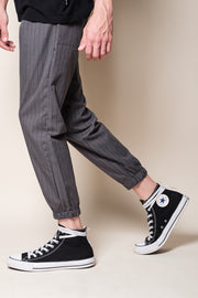 Grey Pinstripe Jogger Pants for Men