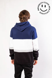 Navy Color Blocked Hoodie