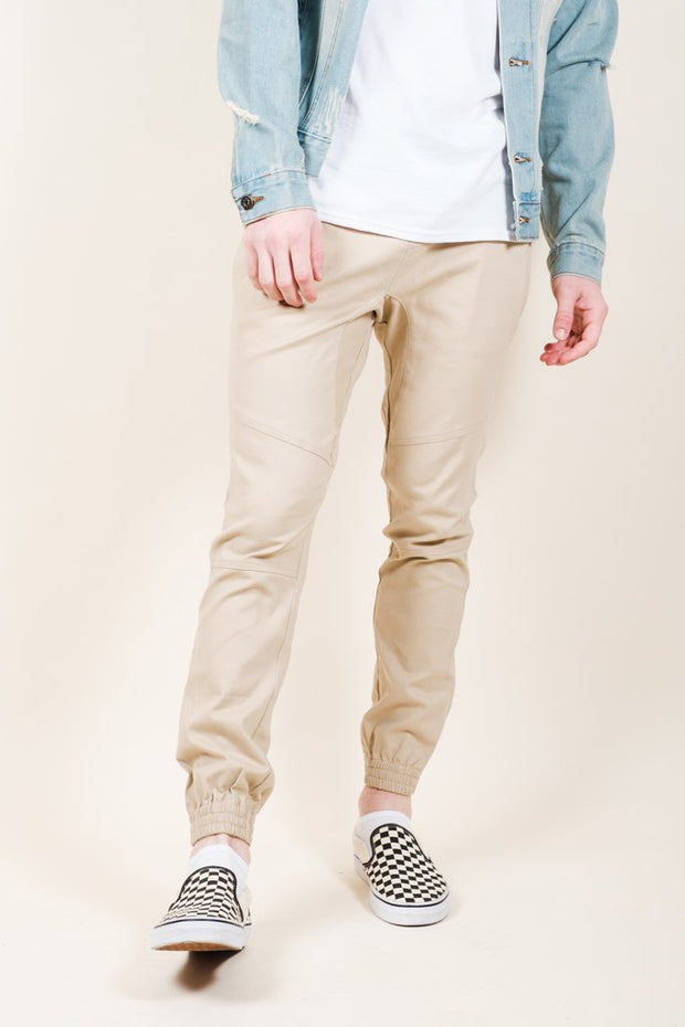 Khaki Side Zipper Pocket Twill Jogger Pants for Men