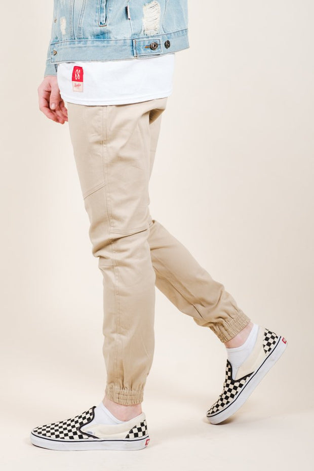 Khaki Side Zipper Pocket Twill Jogger Pants