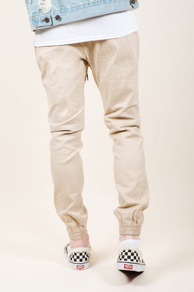 Brooklyn Cloth Khaki Side Zipper Pocket Twill Jogger Pants