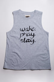 Women's Light Grey Wake Pray Slay Tank Top