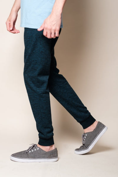 Teal Streaky French Terry Jogger for Men