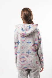 Women's White Tribal Cozy Hoodie
