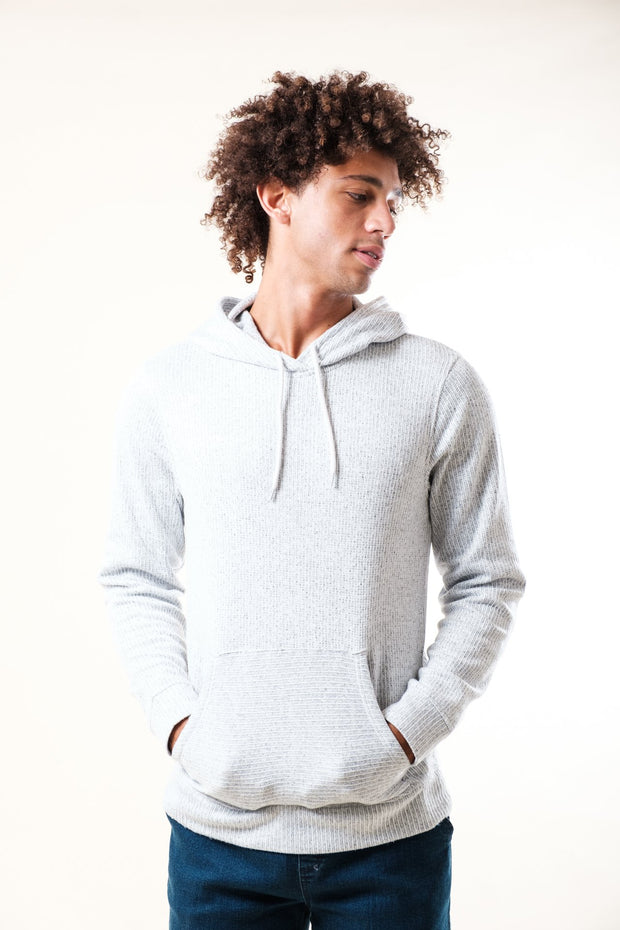 Cozy White Yarn Dye Stripe Hoodie for men