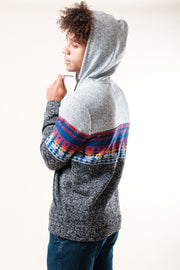 Light Gray Outdoor Stripe Cozy Fleece Hoodie thats stylish