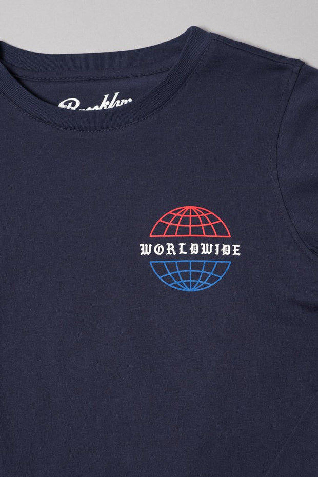 Boys Navy Worldwide Hustle Print Long Sleeve Tee
