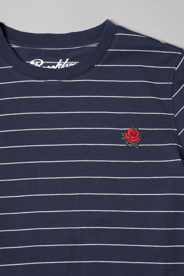 Boys Navy Rose Embroidered Striped Tee