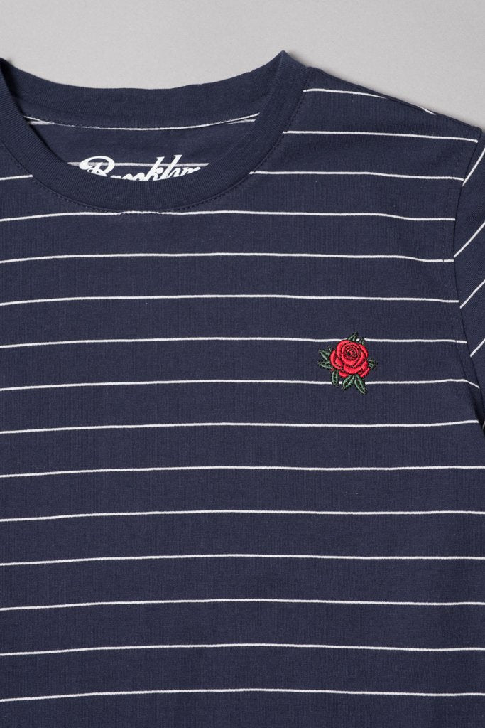 Boys' Navy Rose Embroidered Striped Tee