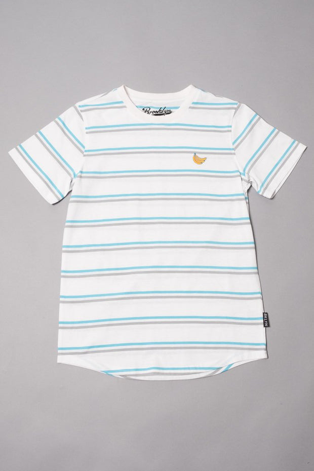 Boys' White Double Stripe Banana Embroidered Tee