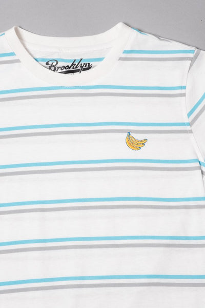 Boys White Double Stripe Banana Embroidered Tee