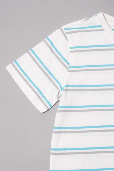 Boy's White Double Stripe Banana Embroidered Tee