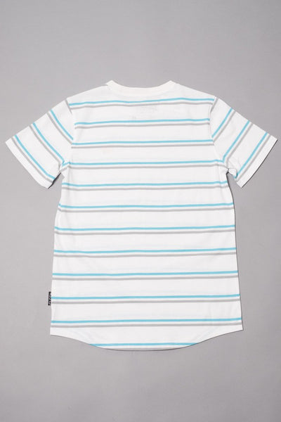 Boys' White Double Stripe Banana Embroidered Tee at Brooklyn Cloth