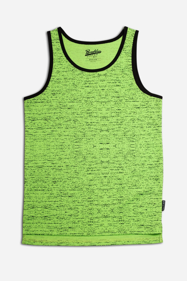 Boys Air Mesh Space Dye Tank Top in Neon Green