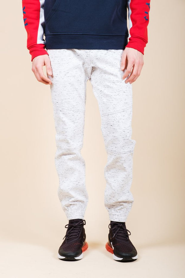 Men's White Printed Space Dye Jogger Pants