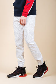 White Printed Space Dye Jogger Pants