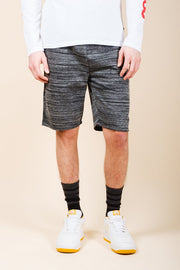 Black Yarn Dye Space Dye French Terry Jogger Shorts for Men