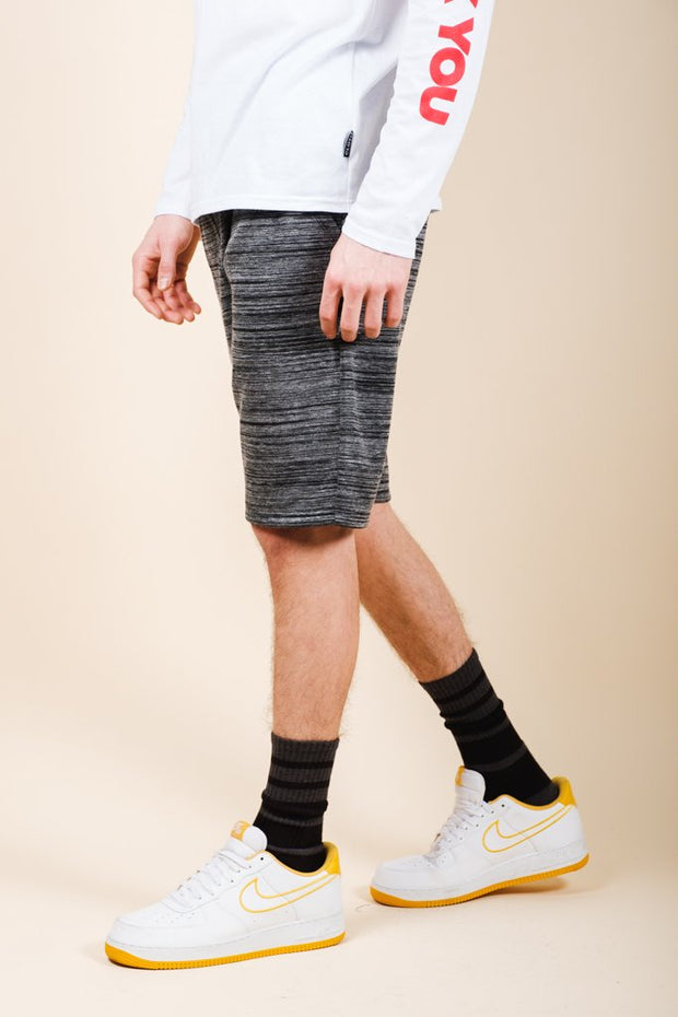 Black Yarn Dye Space Dye French Terry Jogger Shorts