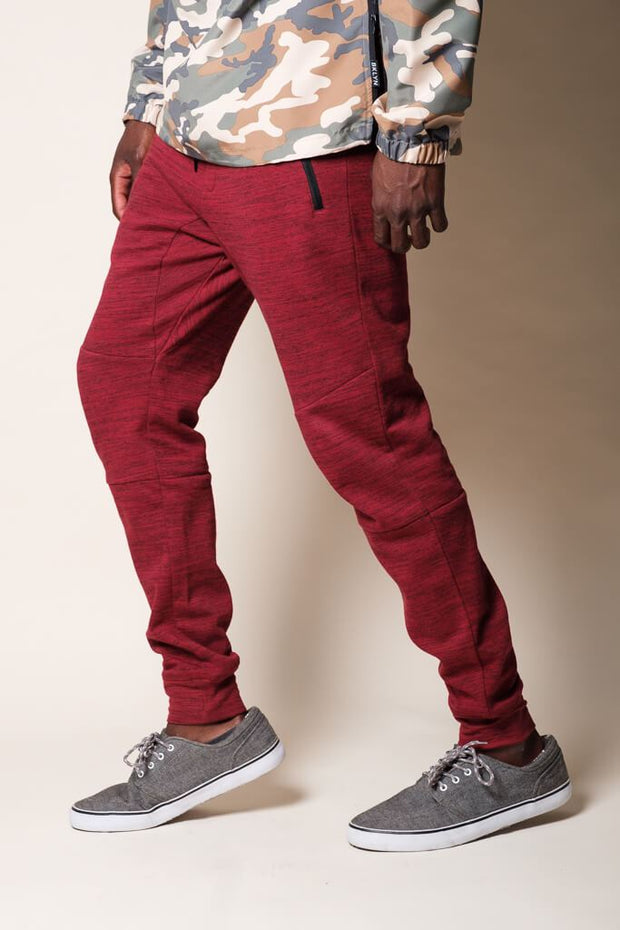 Burgundy Knit Space Dye Jogger Pants for Men