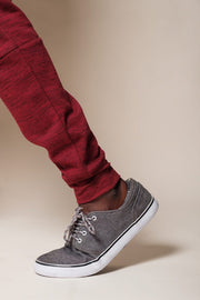 Brooklyn Cloth Burgundy Knit Space Dye Jogger Pants for Men