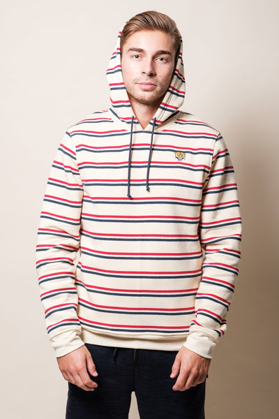 Cream Tiger Striped Hoodie
