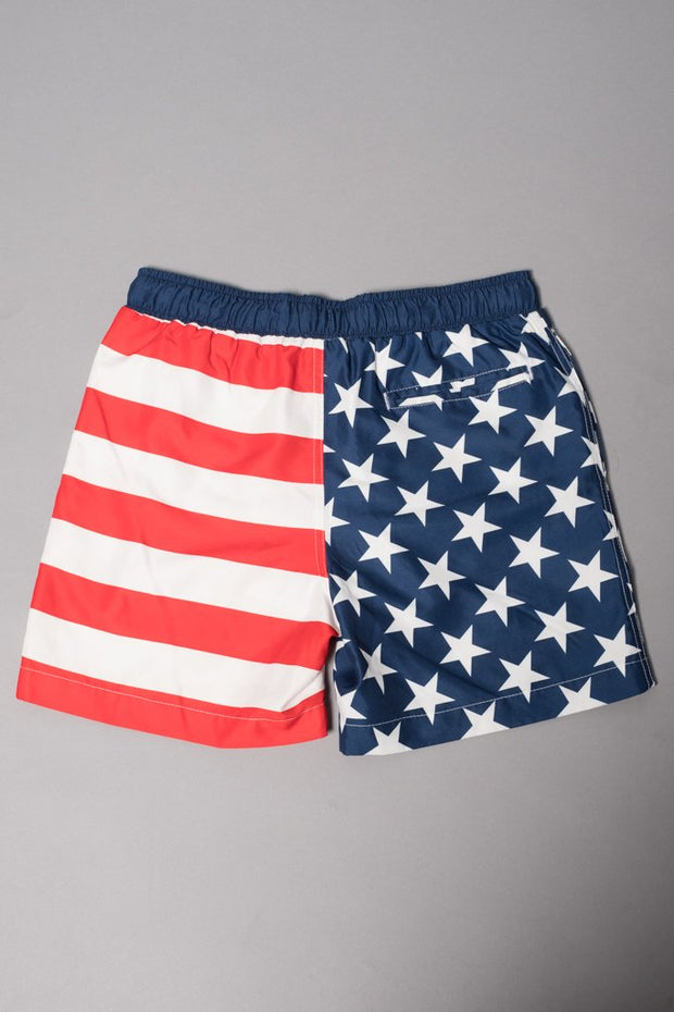 Boys American Flag Swim Trunks at Brooklyn Cloth