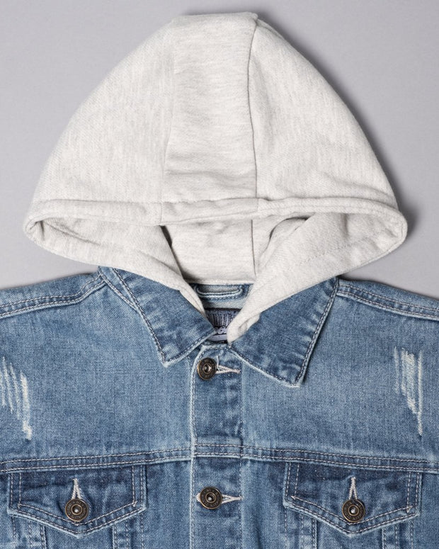 Boy's Denim Jacket with Knit Moto Sleeves