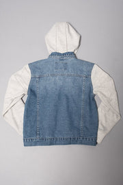 Boys Denim Jacket with fleece sleeves at Brooklyn Cloth