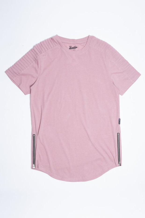 Dusty Rose Moto Side Zipper Tee