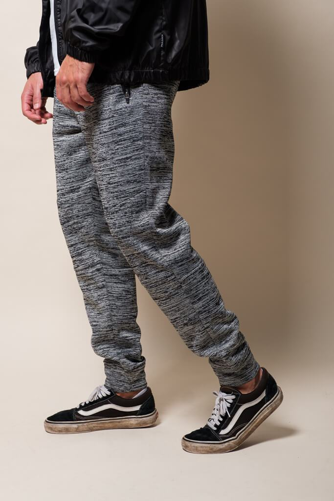 Charcoal Grey Space Dye Cozy Knit Jogger Pants