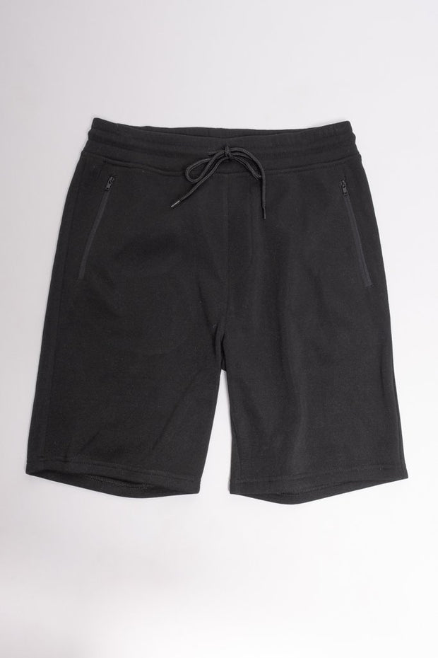 Black Zip Pocket Knit Shorts for Men