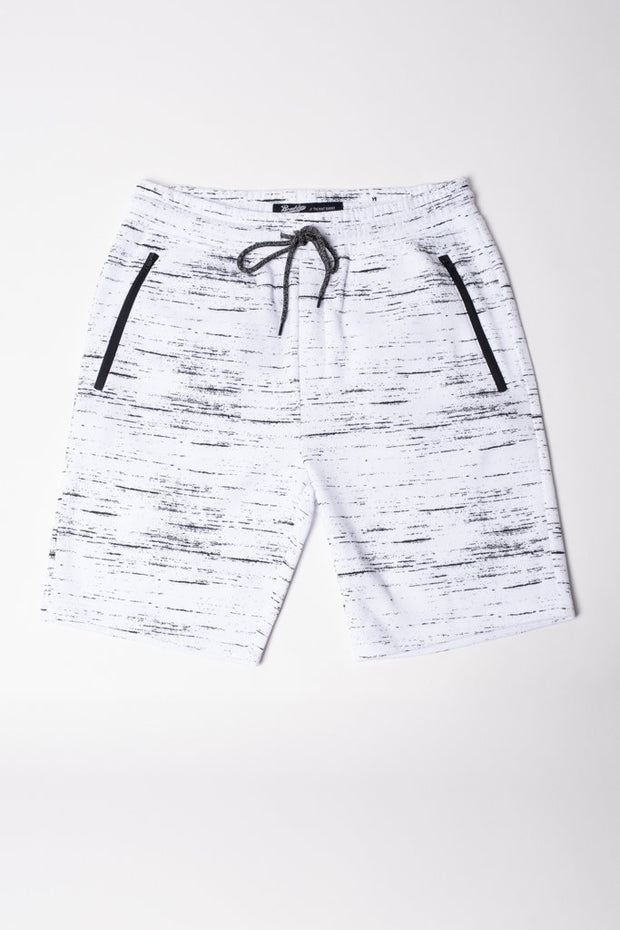 White Streaky Print Fleece Zip Pocket Shorts