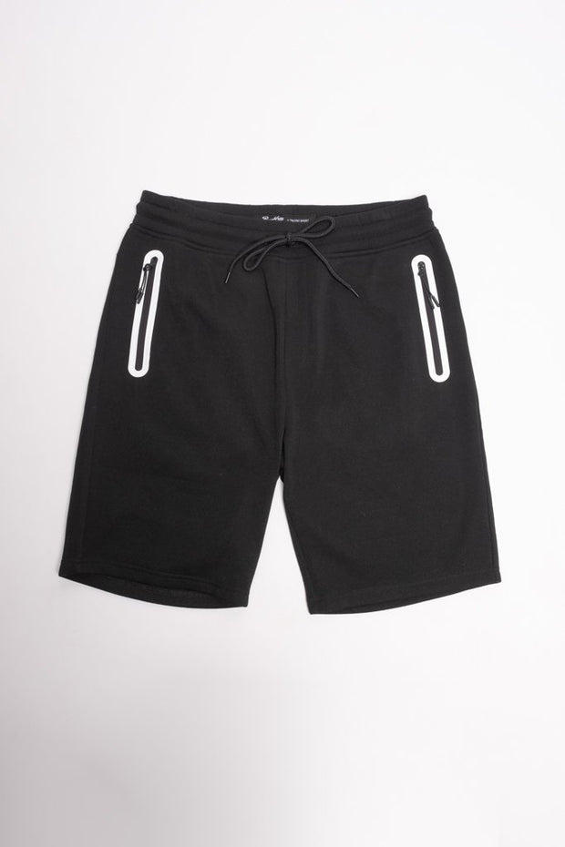 Black and White Heat Seal Zip Shorts