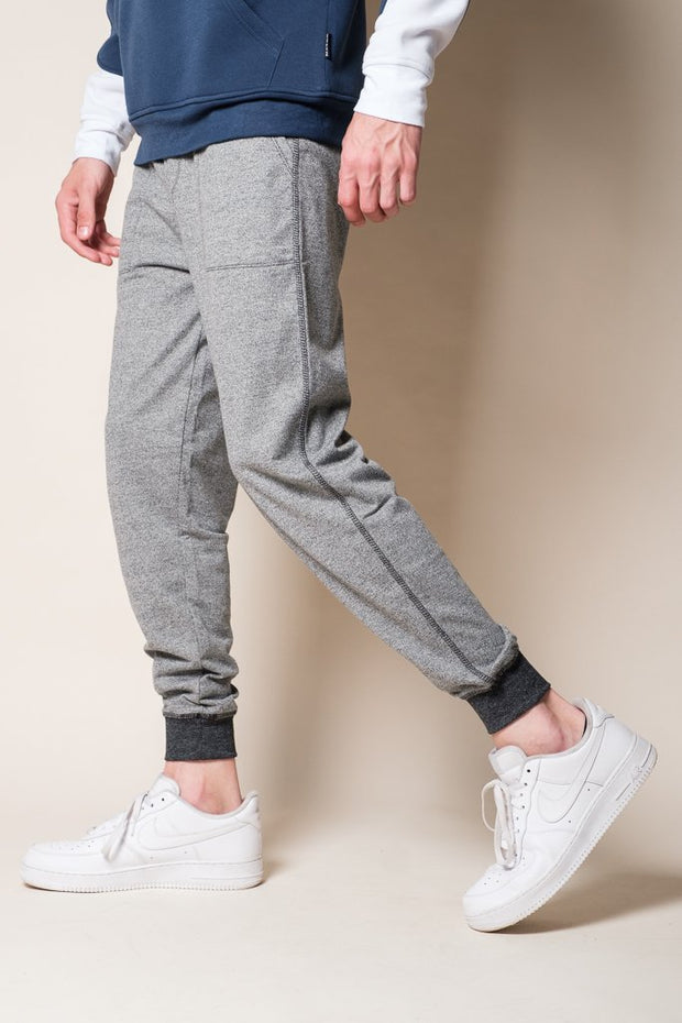 Black Marl French Terry Jogger Pants for Men