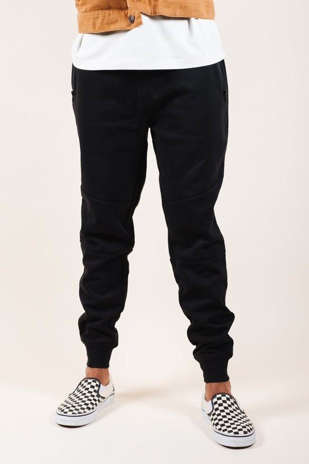 Solid Black French Terry Zip Pocket Jogger Pants