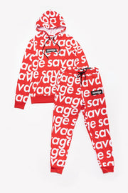 Boys Red Savage Repeat Hoodie