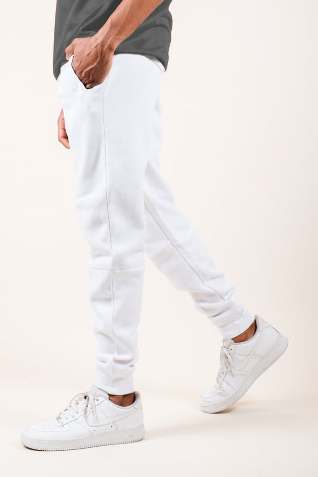 White Fleece Core Jogger Pants