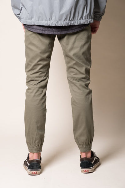Olive Green Twill Jogger Pant in Men's