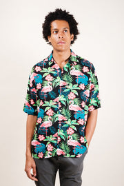 Flamingo Print Woven Shirt for Men